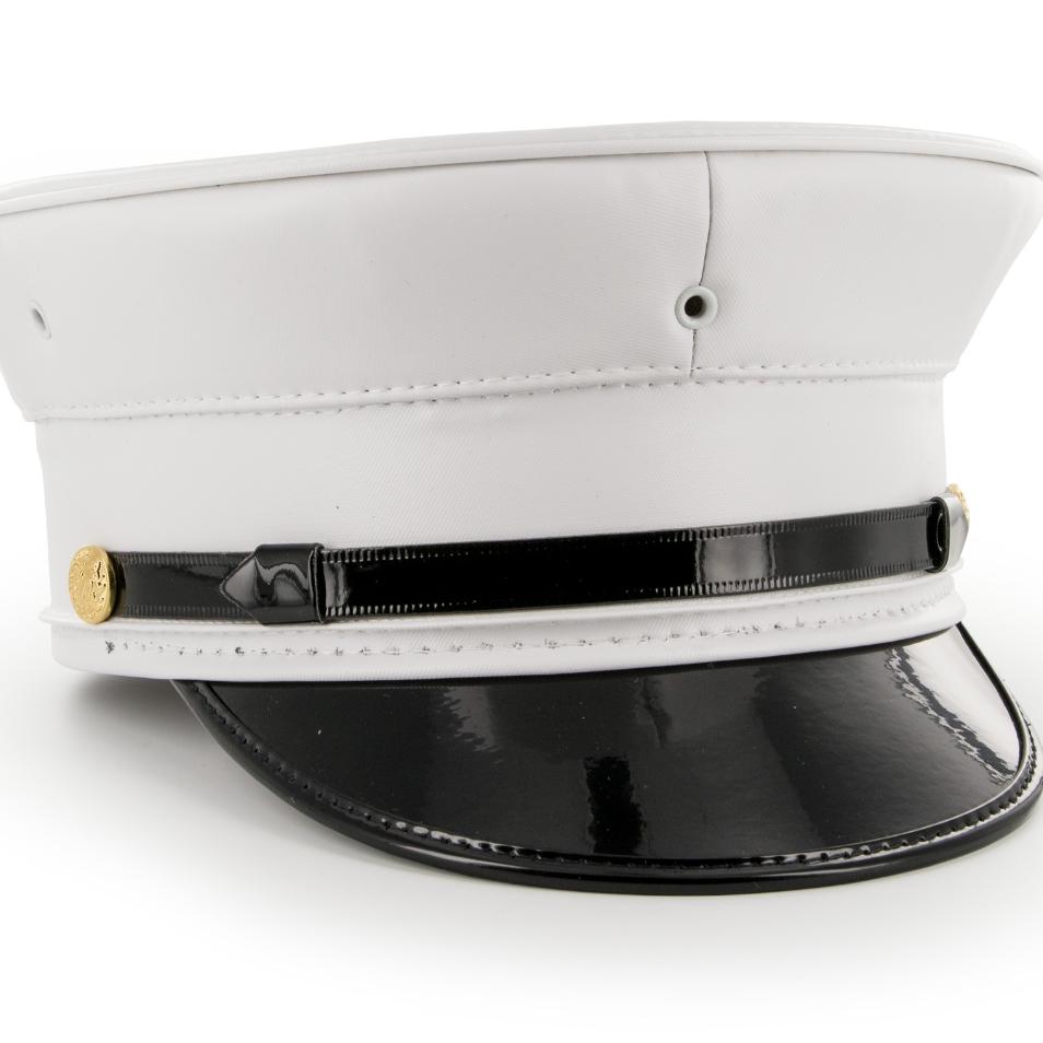 White Vinyl Fire Bell Crown Uniform Hat